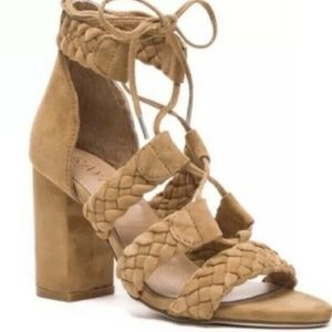 RAYE Braided Sandal Block Heels Tan Size 36.5
